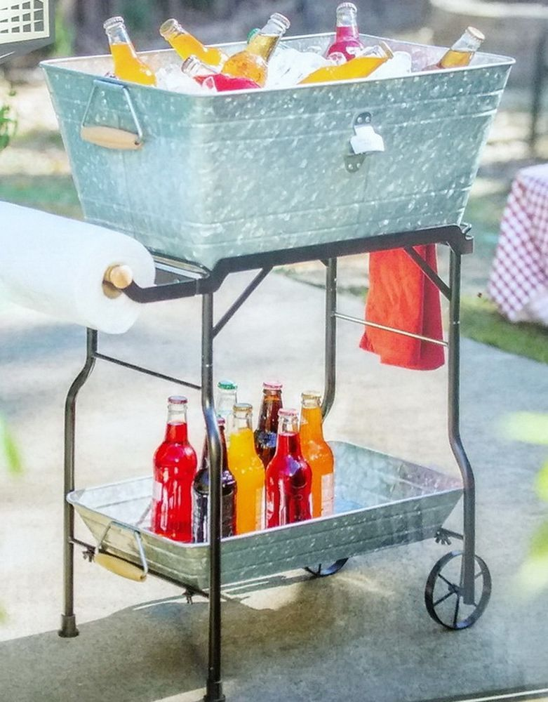 New Galvanized Ice Bucket Party Cooler With Rolling Cart Stand And