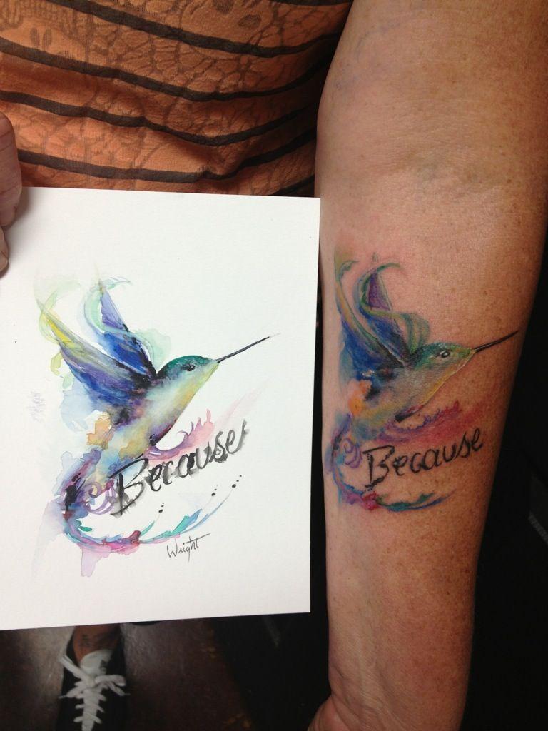 Hummingbird watercolor painting to tattoo watercolor