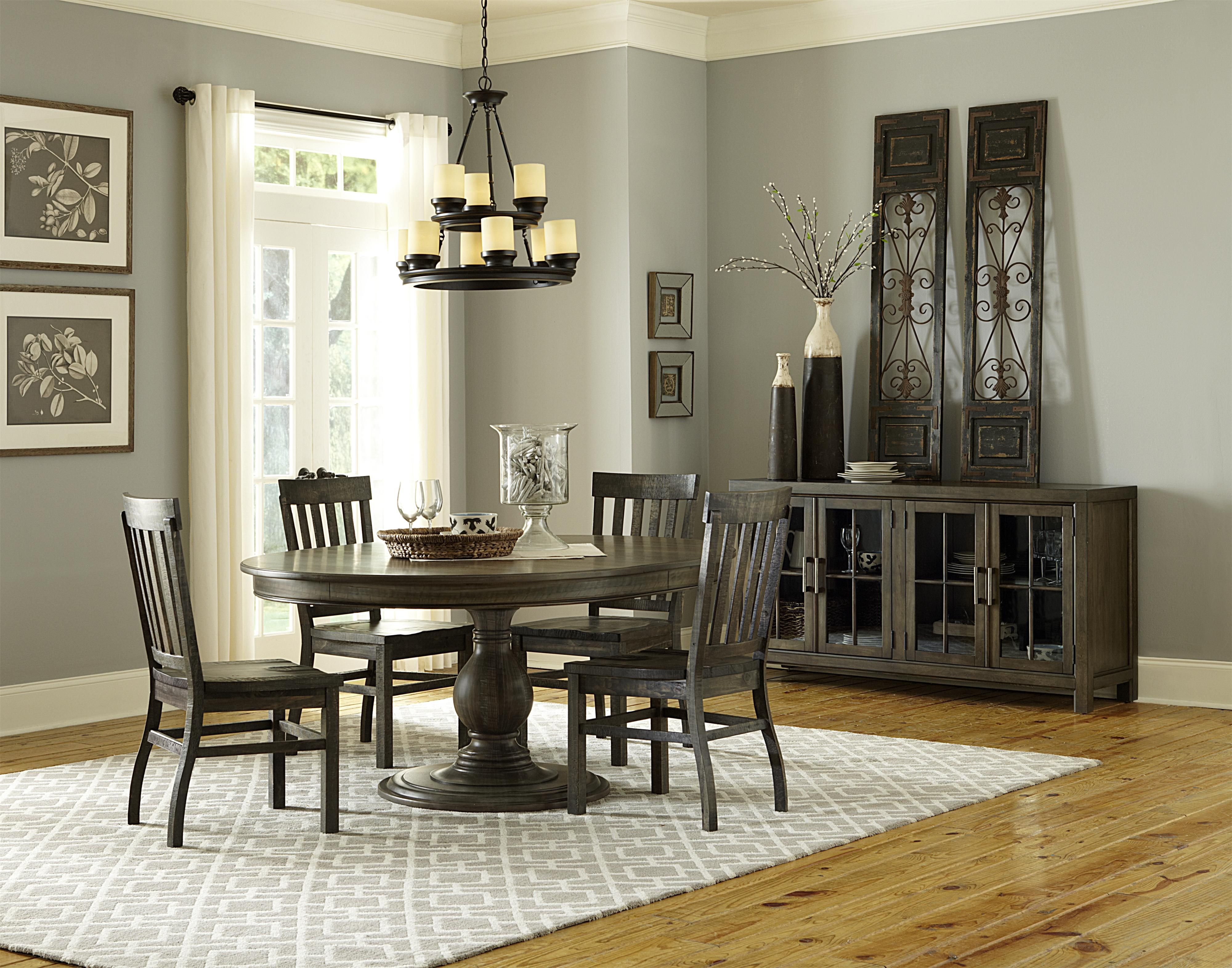 Transitional Weathered Gray Round Dining Table With