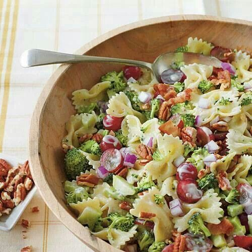 Broccoli, grape pasta salad