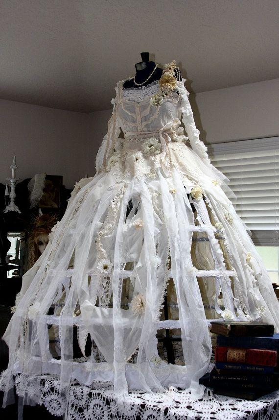 Tattered Victorian Steampunk Fairy dress set, Wedding Gown, Bride ...