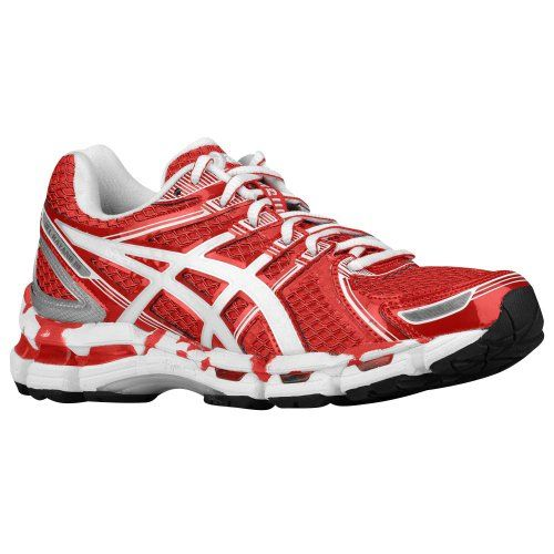 ASICS Men's Gel-Kayano 19 Running Shoe,Hot Red/White/Silver,