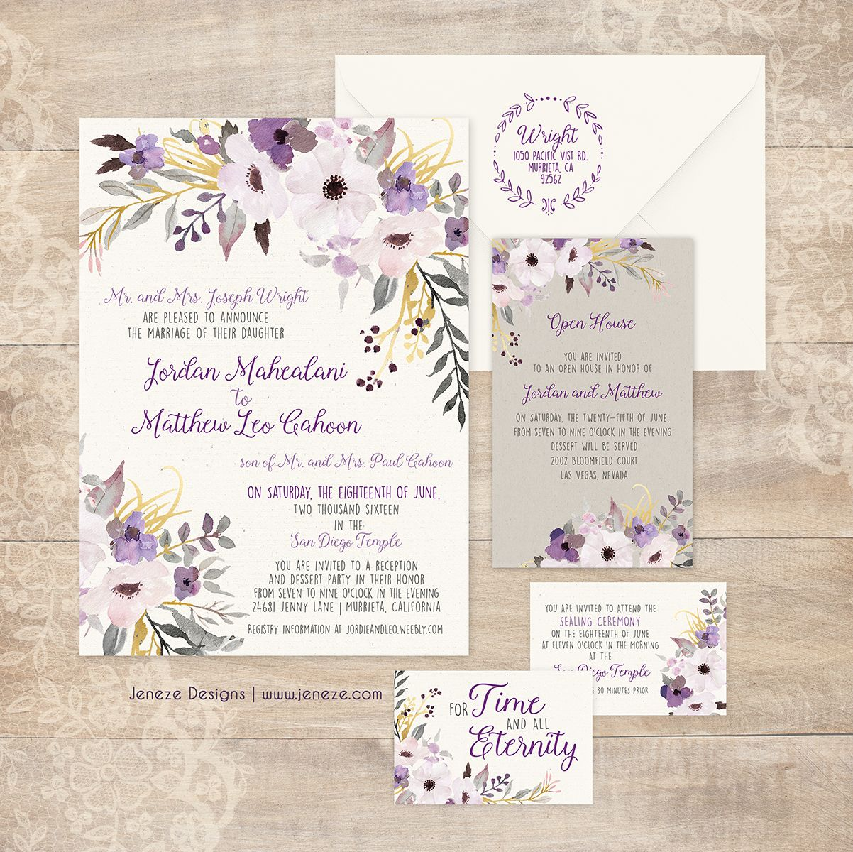 Floral lavender and gold wedding invitations. Pretty watercolor ...