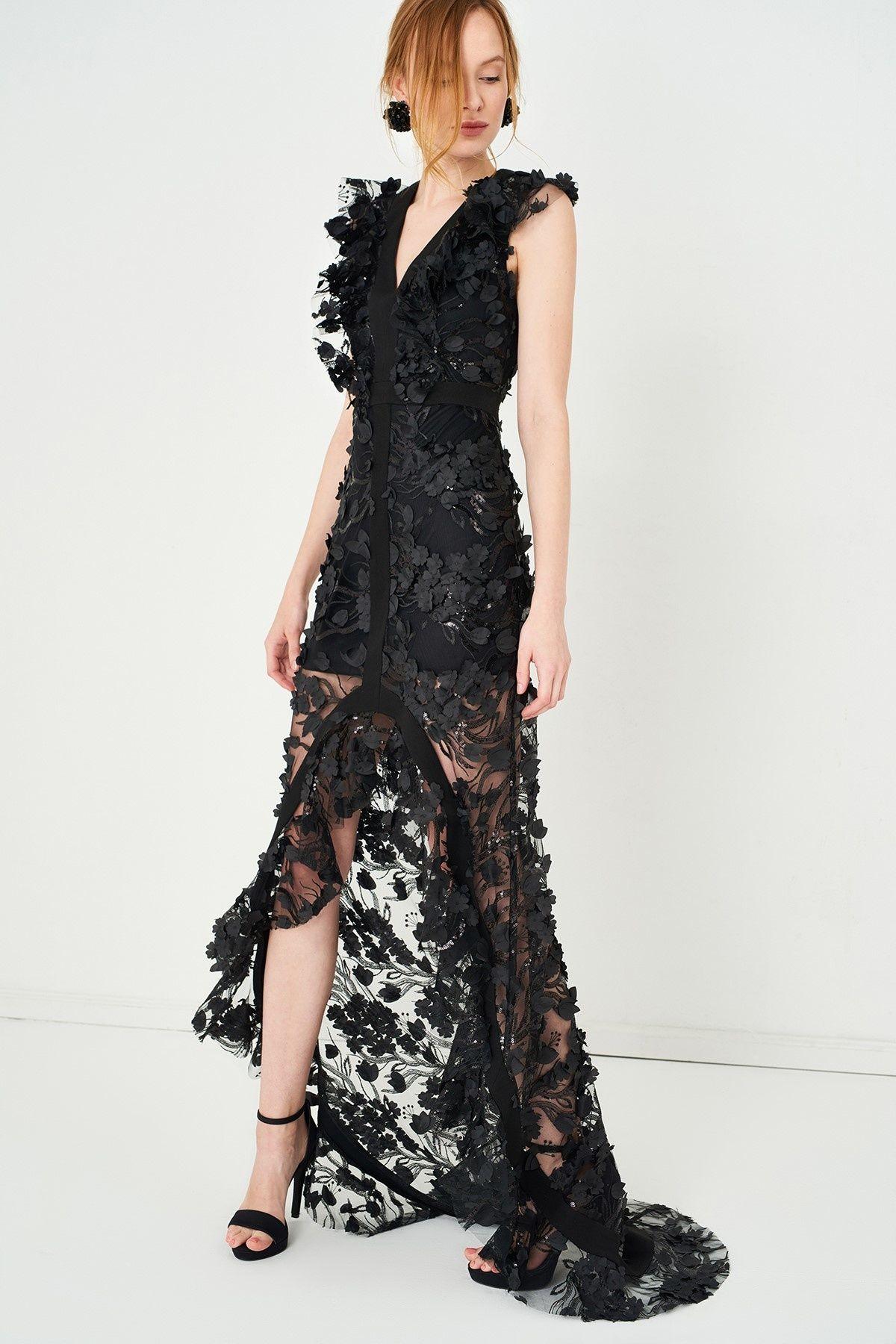 a2a10855449c3 TRENDYOLMİLLA Siyah Üç Boyut Çiçekli Elbise | Glamorous Fashion ...