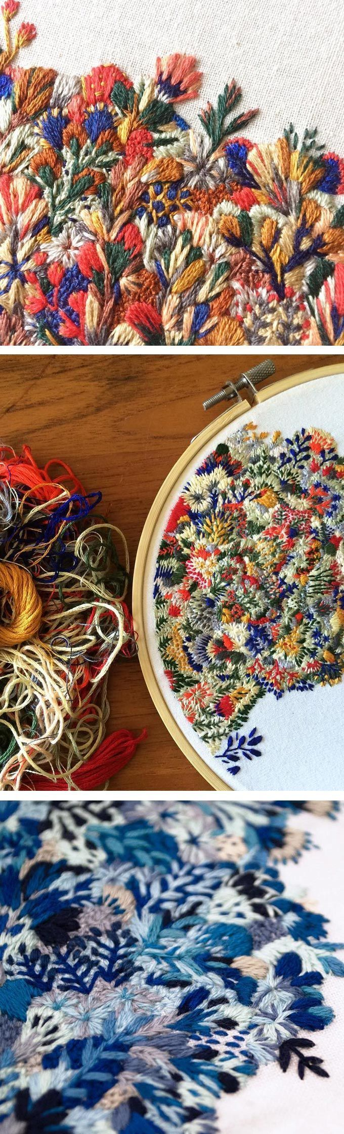 Photo of Slow Stitch Sophie's Embroideries Resembling Landscapes of Wildflowers