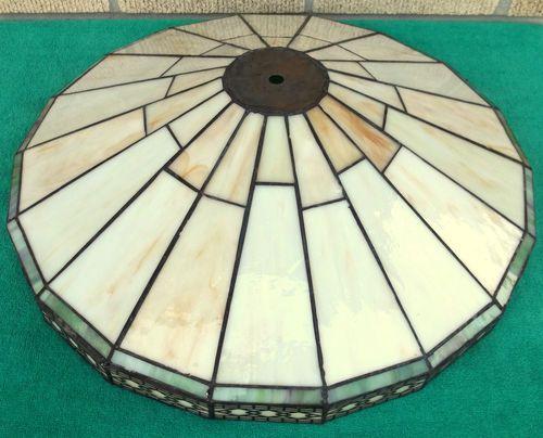 damaged vintage spectrum mission arts crafts slag stained glass lamp shade ebay