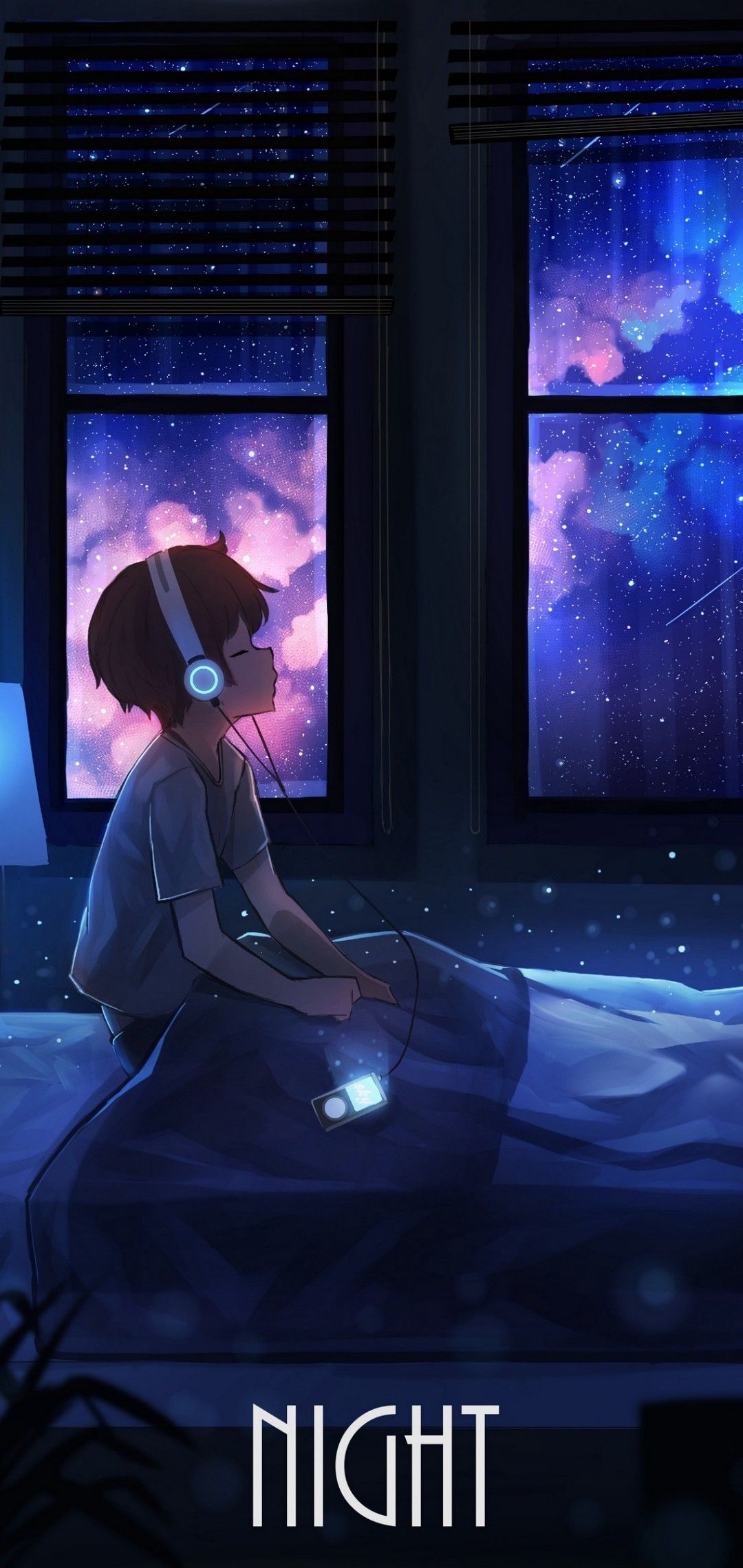 A Boy Listening Music In Night Anime Scenery Wallpaper Cool Anime Wallpapers Anime Backgrounds Wallpapers