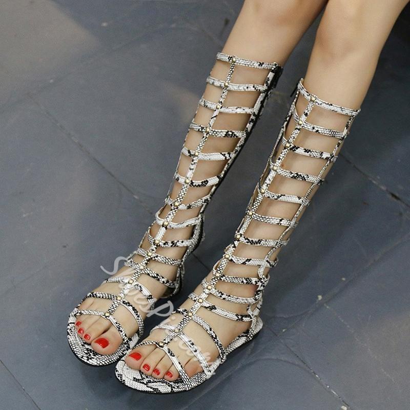 5452ca14a4d4 Shoespie - Shoespie Shoespie Serpentine Flat Gladiator Sandals - AdoreWe.com