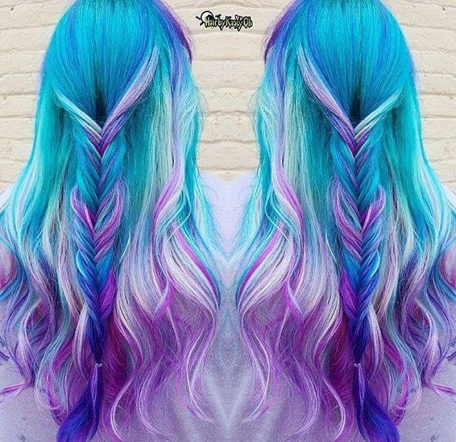 Mermaid hair | Bunte haare, Kreative frisuren, Haarfarben