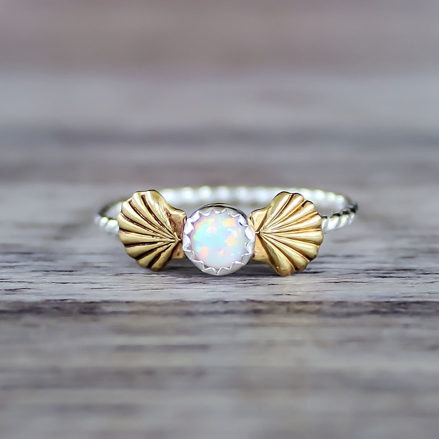 Mermaid Sea Shells And Opal Ring Jewelry Mermaid Ring