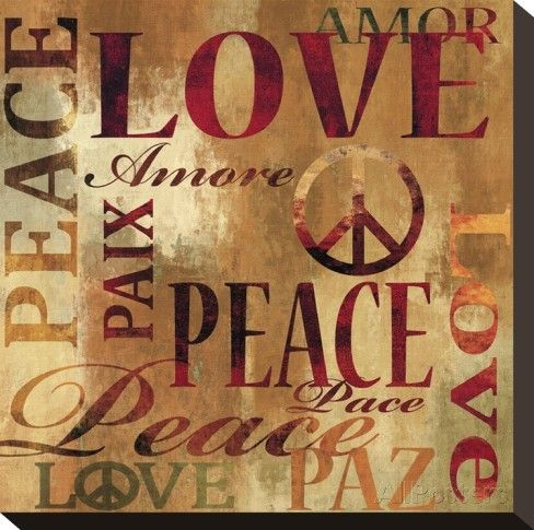 Peace and Love Stretched Canvas Print by Luke Wilson at AllPosters.com