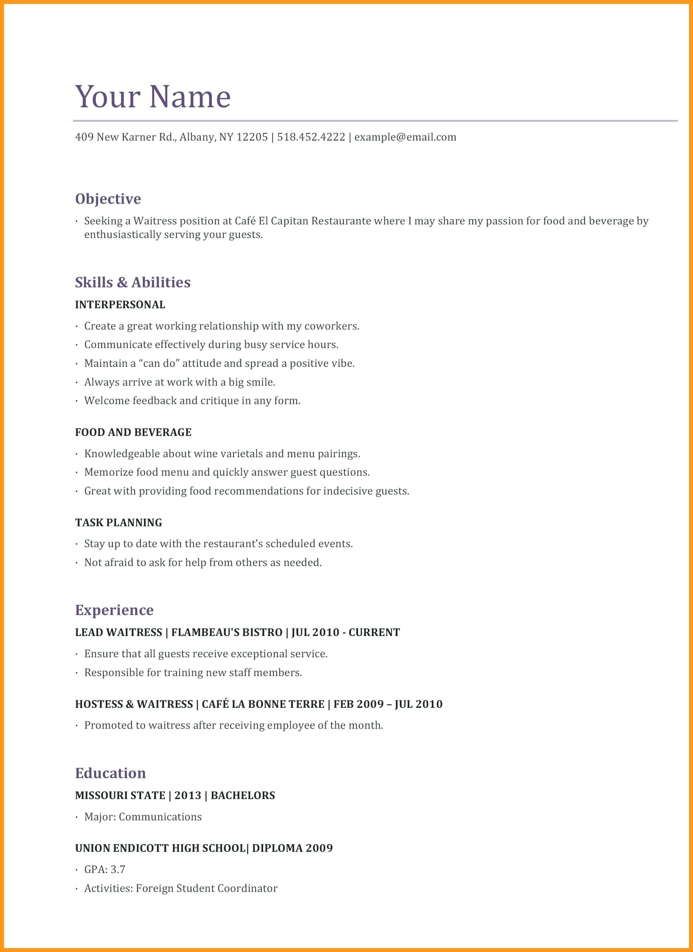 Waiter Resume Skills Examples