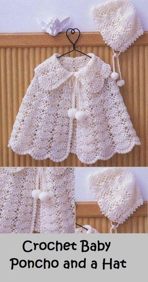 crochet baby poncho and a hat #vestidosparabebédeganchillo