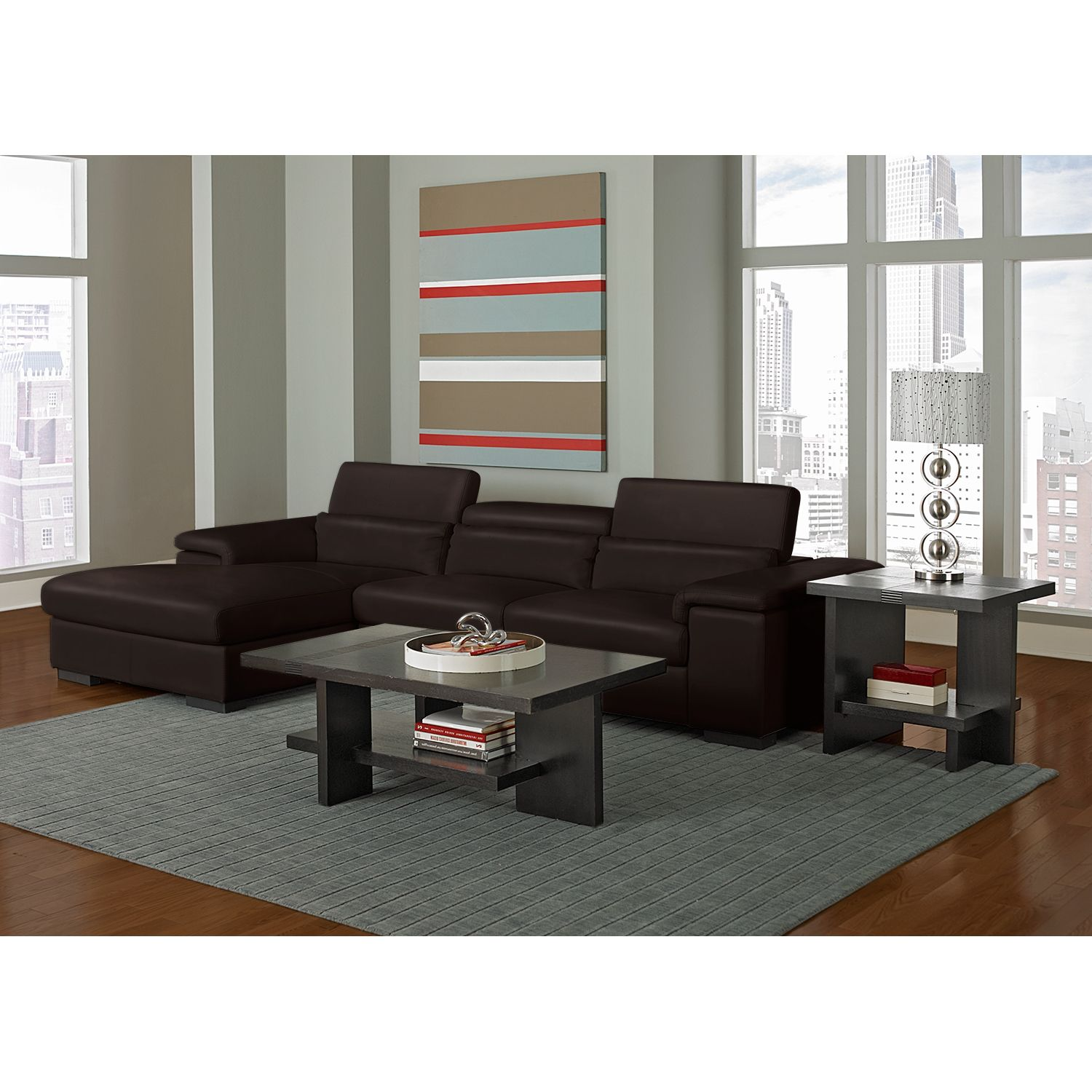 Ventana II Leather 2 Pc Sectional Reverse Value City Furniture