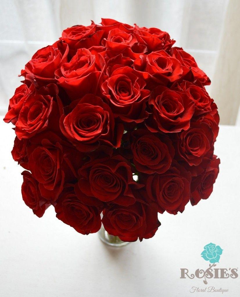 A Christmas Bride.Three Dozen Red Rose Hand Tied Bouquet For A Christmas Bride