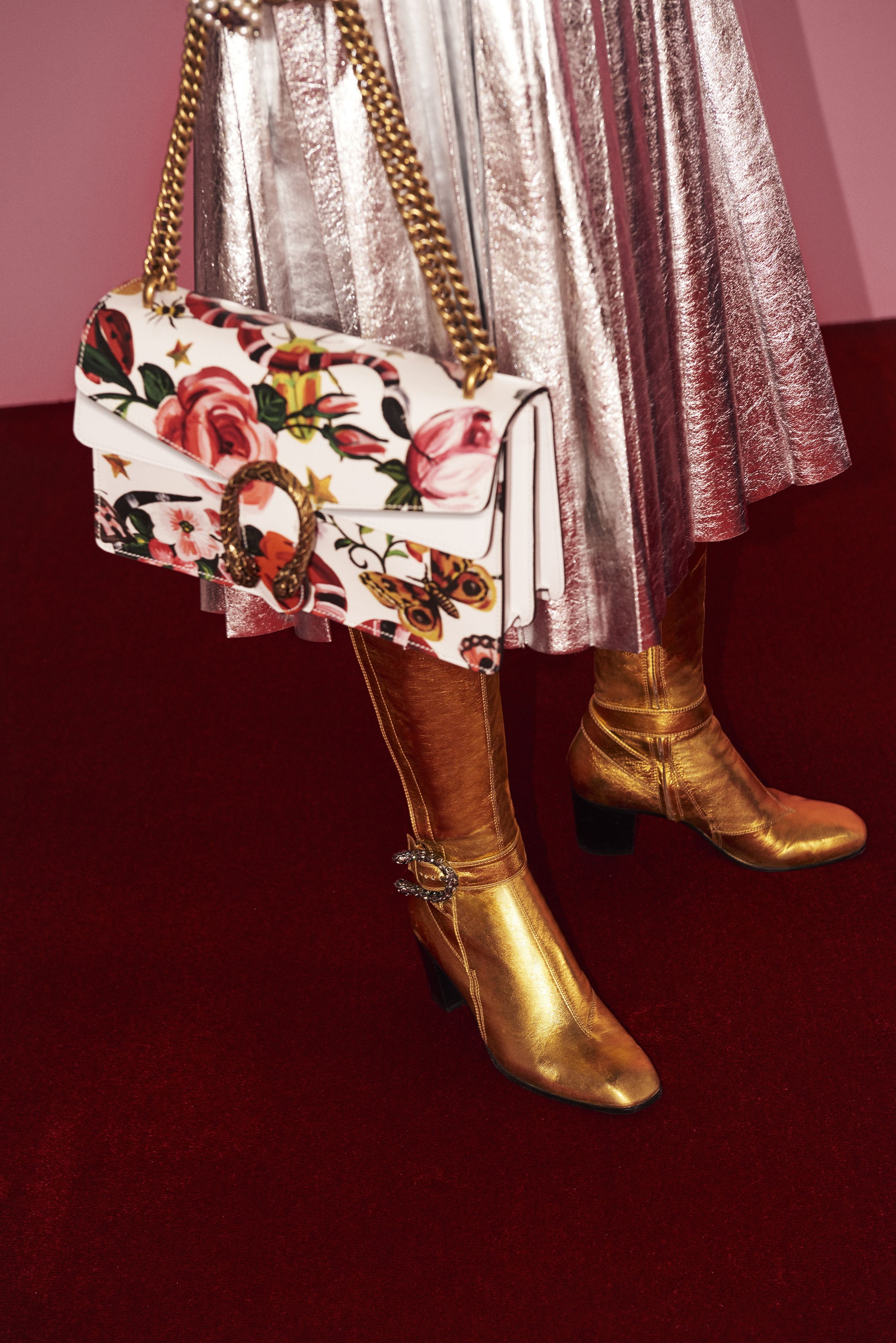 791957e3200 The Gucci Garden Dionysus bag and pleated metallic silver leather skirt.  Mid-heel knee boots in metallic gold leather and textured tiger head  closure ...