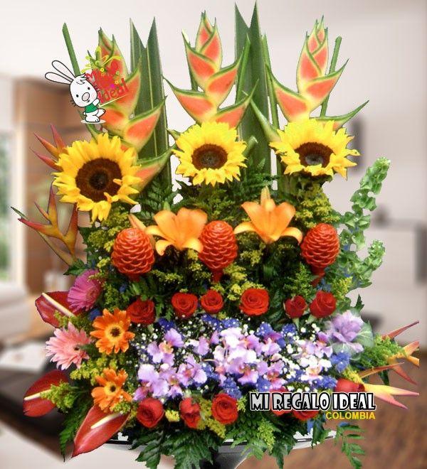 Arreglo Floral Con Girasoles Orquideas Gerberas