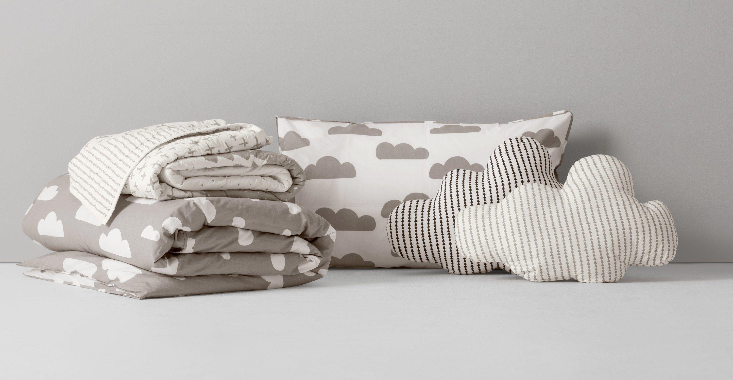 Iso 180 X 130cm Bedspread Cloud Grey Cloud Cushion Grey White