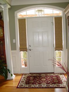 I Know That Sidelights Are A Problem And Ll Show This Example As Don T If Client Asks Custom Roman Shades For Sidelight Windows At Front Door