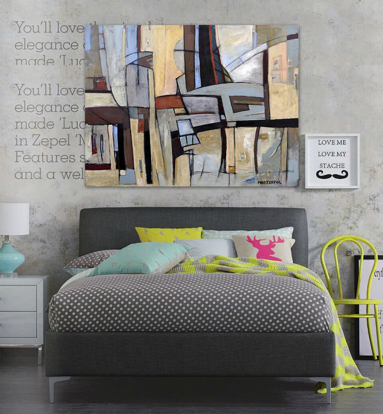 Find More Painting & Calligraphy Information about Modern abstract painting brown hand painted blue gray plaid color office original canvas wall art home decor,High Quality art video,China art deco party decorations Suppliers, Cheap decorative art definition from WHAT ART on Aliexpress.com