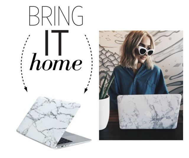 """""""Bring It Home: White Marble Rubberized Hard Laptop Case"""" by polyvore-editorial ❤ liked on Polyvore featuring interior, interiors, interior design, home, home decor, interior decorating, Brooks and bringithome"""