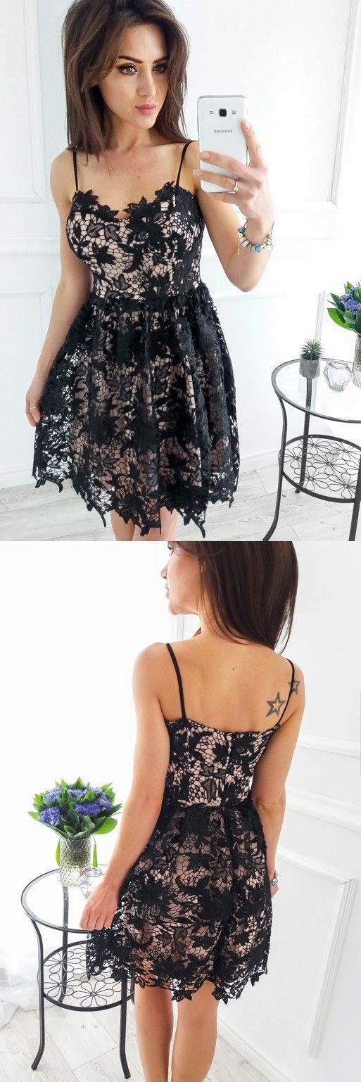Aline spaghetti straps short black lace homecoming dress lace