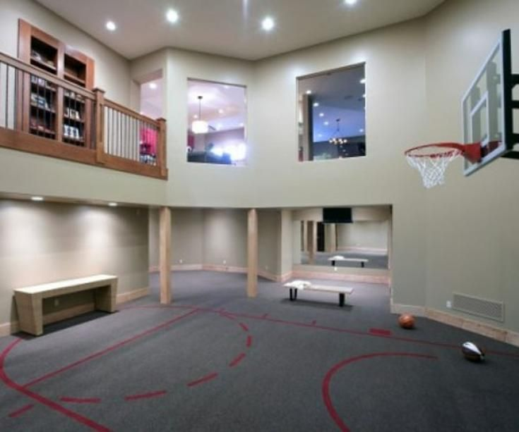 Basements Don 39 T Have To Be Dark And Dingy They Can Be Awesome Places To Watch Tv Play Games Have A Basketball Room Home Gym Design Home Basketball Court