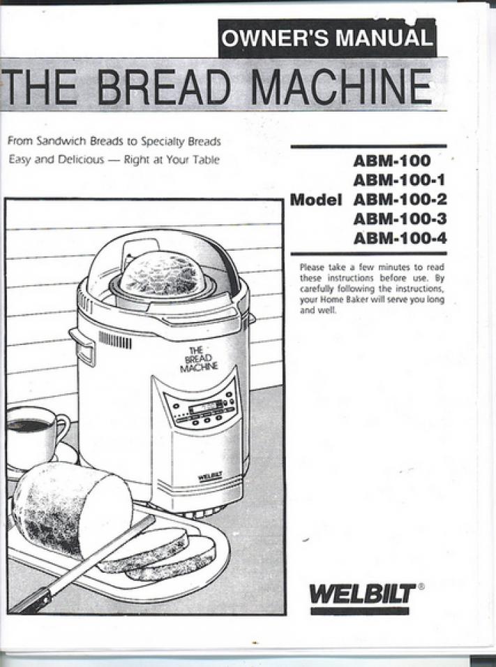 Welbilt Dak Abm100 1 Bread Machine Manual Recipes Bread Machine