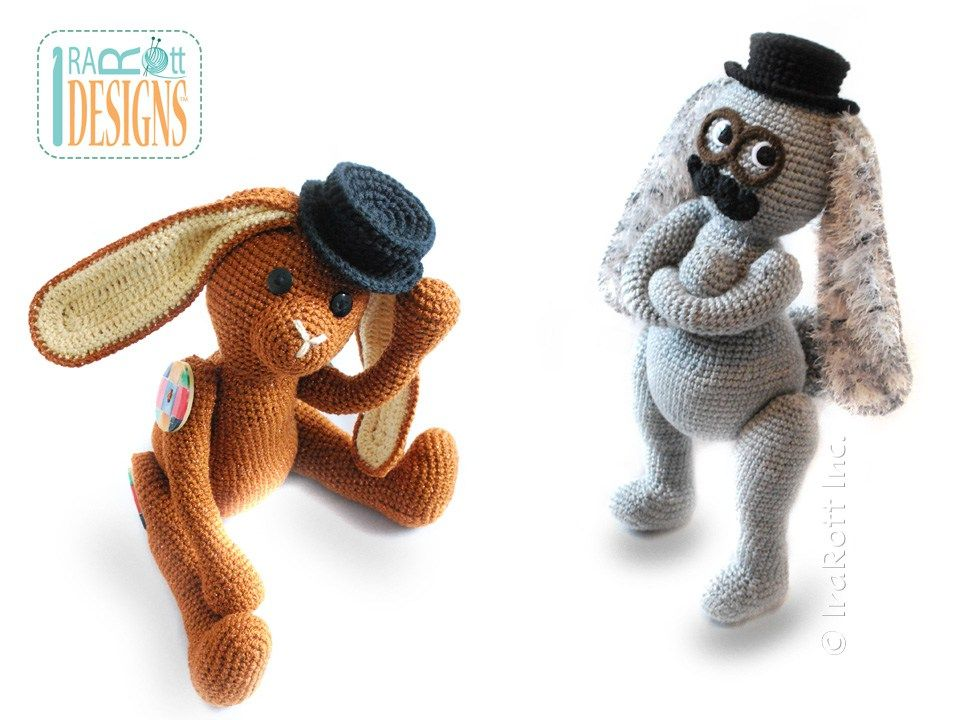 Sam the Steampunk Bunny with Fedora Hat and Mustache Amigurumi Toy ...