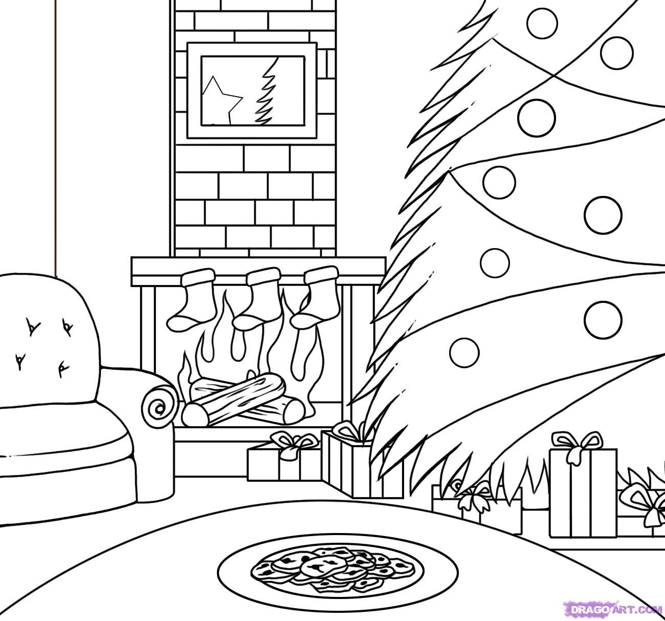 christmas scene drawing - Google Search | christmas | Pinterest ...