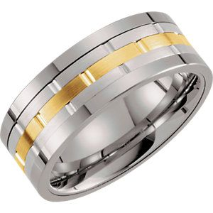 Tungsten & 14kt Yellow 8mm Grooved Ridged Band Size 10
