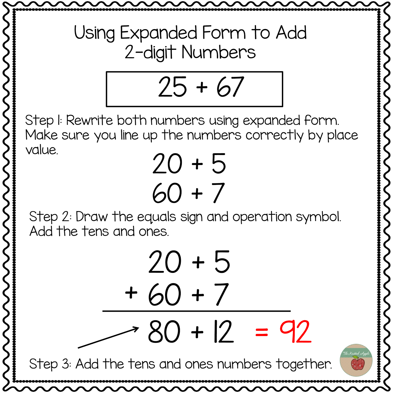 using expanded form to add 2 digit numbers