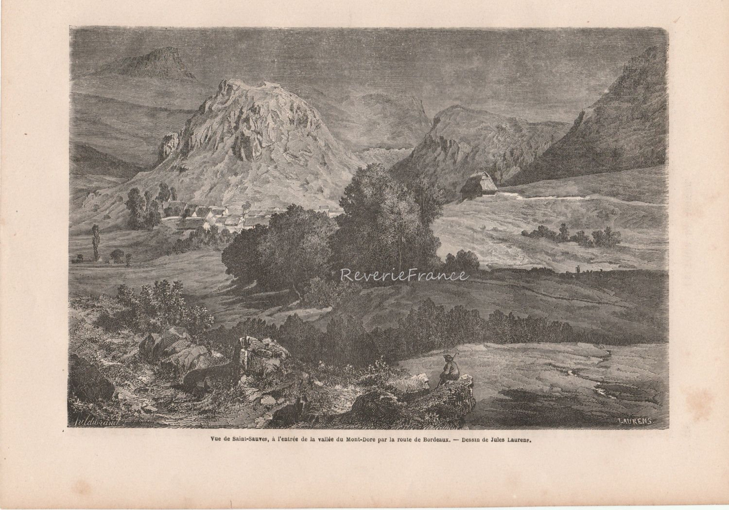 Antique French Engraving of Saint Sauves near Valley of Mount Doré en route to Bordeaux,France by reveriefrance on Etsy