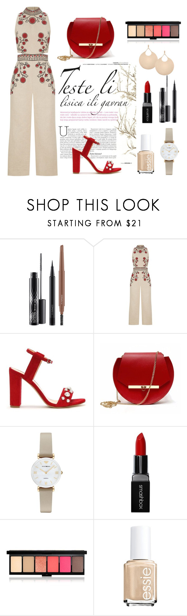 """""""Untitled #27"""" by modabeauty ❤ liked on Polyvore featuring MAC Cosmetics, Whistles, Angela Valentine Handbags, Emporio Armani and Smashbox"""