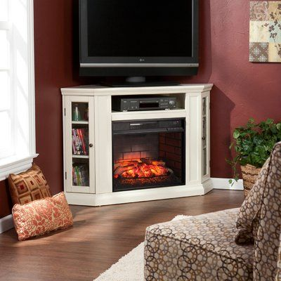 Alcott Hill Dunminning Corner Tv Stand With Fireplace Finish Ivory