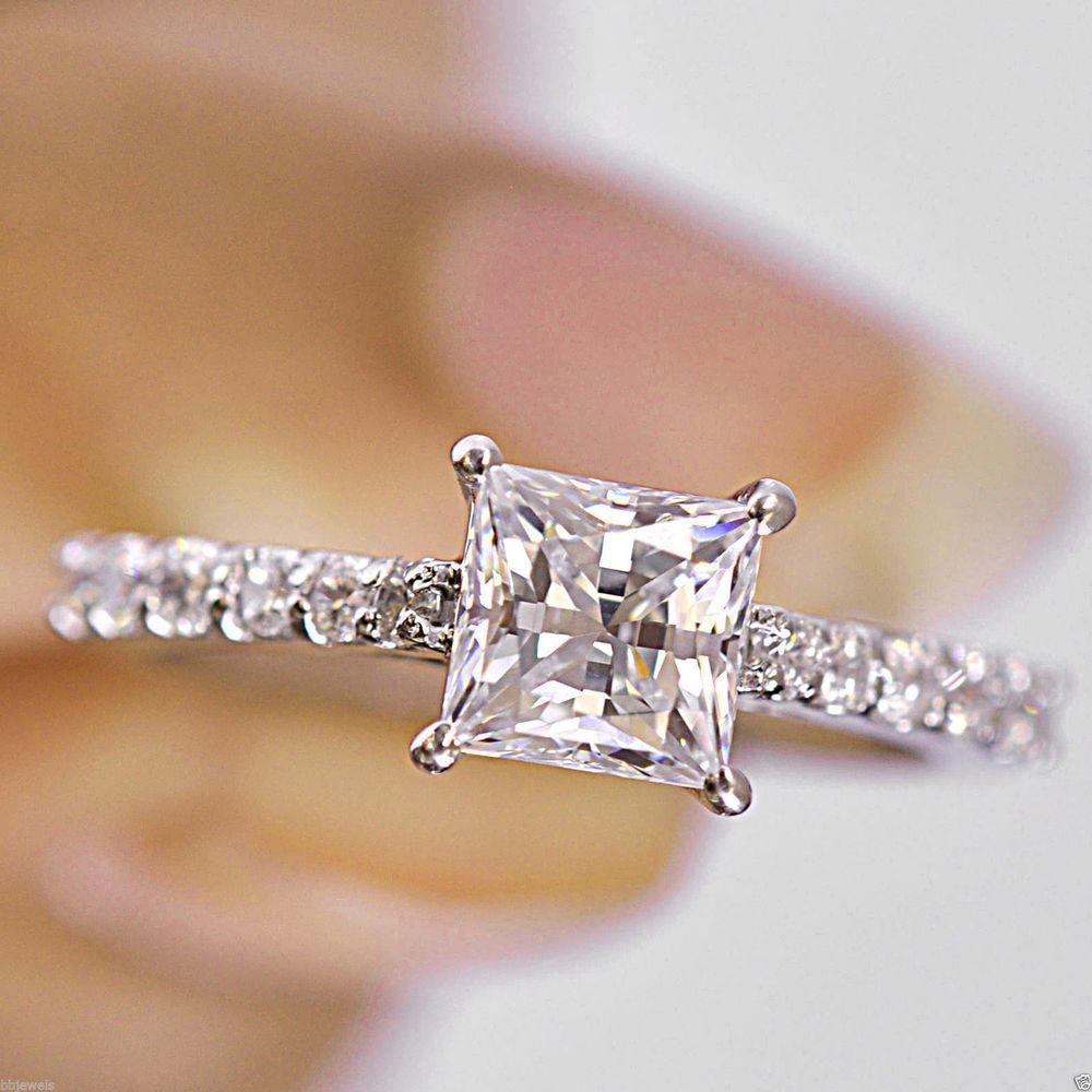 Certified ct white princess cut diamond halo wedding ring k