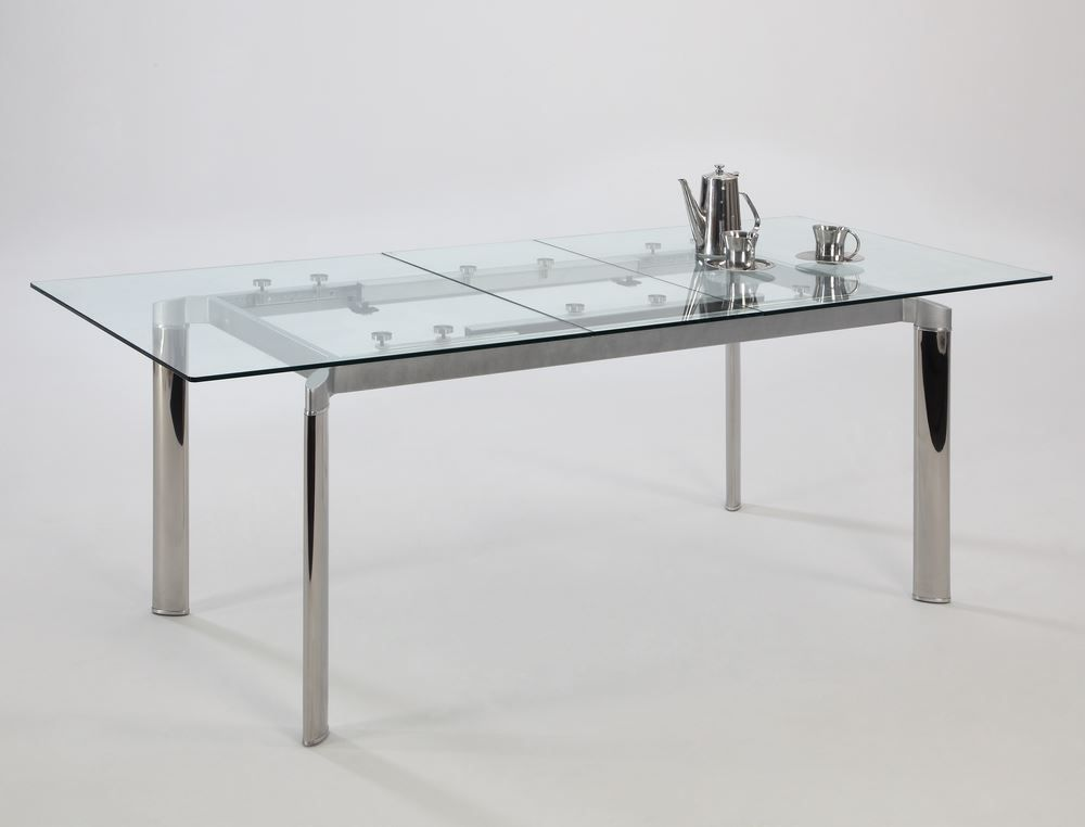 Buy Chintaly Imports Tara 63x36 Rectangular Extendable Dining Table W Glass Top In Metal On