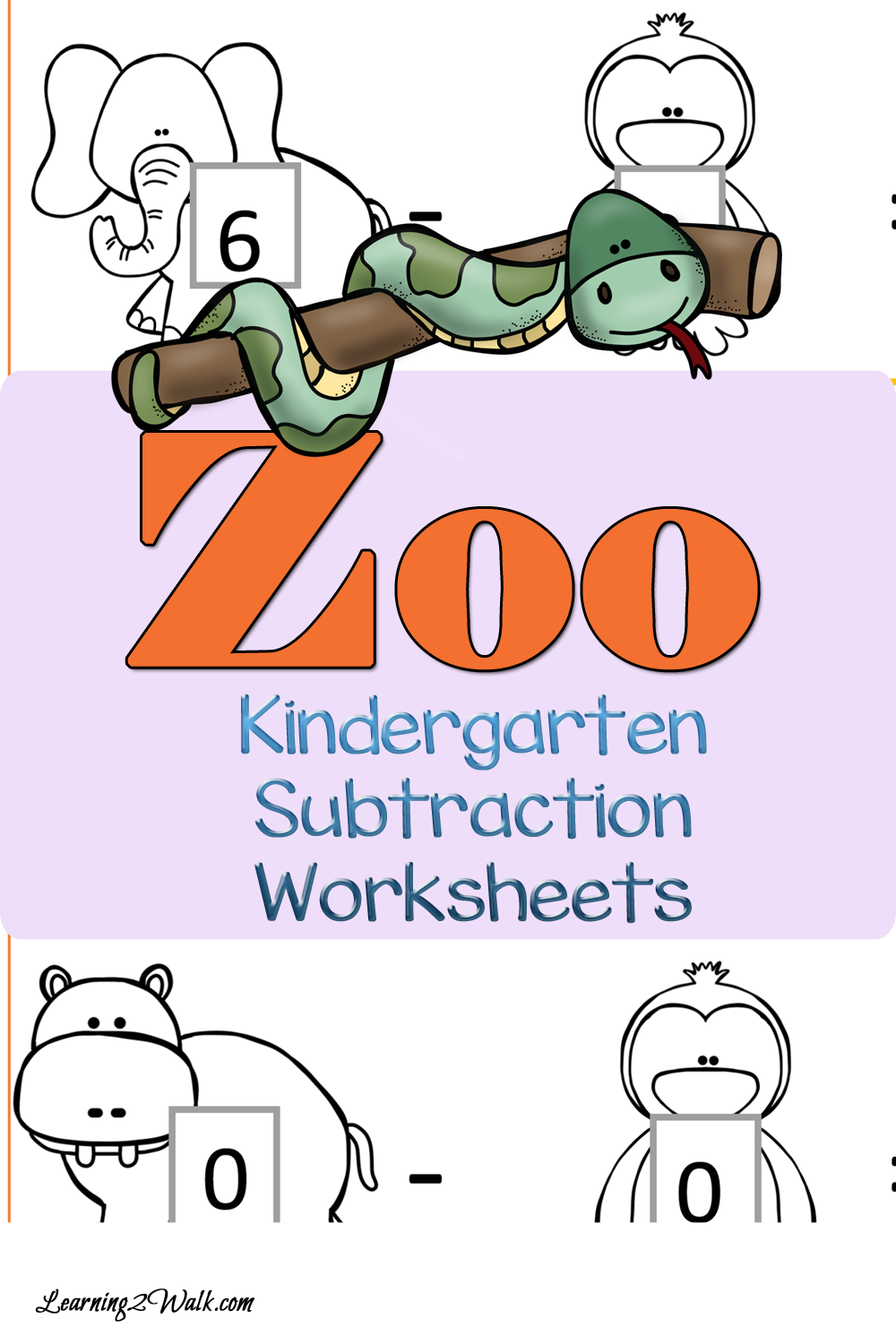 FREE Zoo Subtraction Worksheets for Kindergarten | Subtraction ...