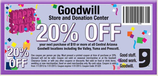 January Goodwill 20 Off Coupon For Arizona Stores Coupons Goodwill 20 Off