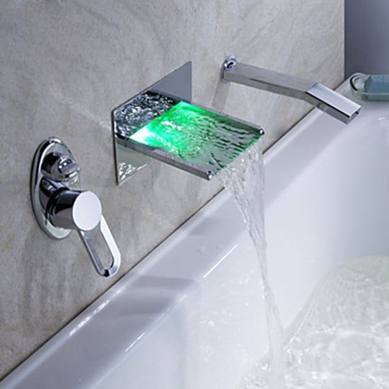 Led Waterfall Wall Mount Tub Faucet With Pull Out Hand Shower