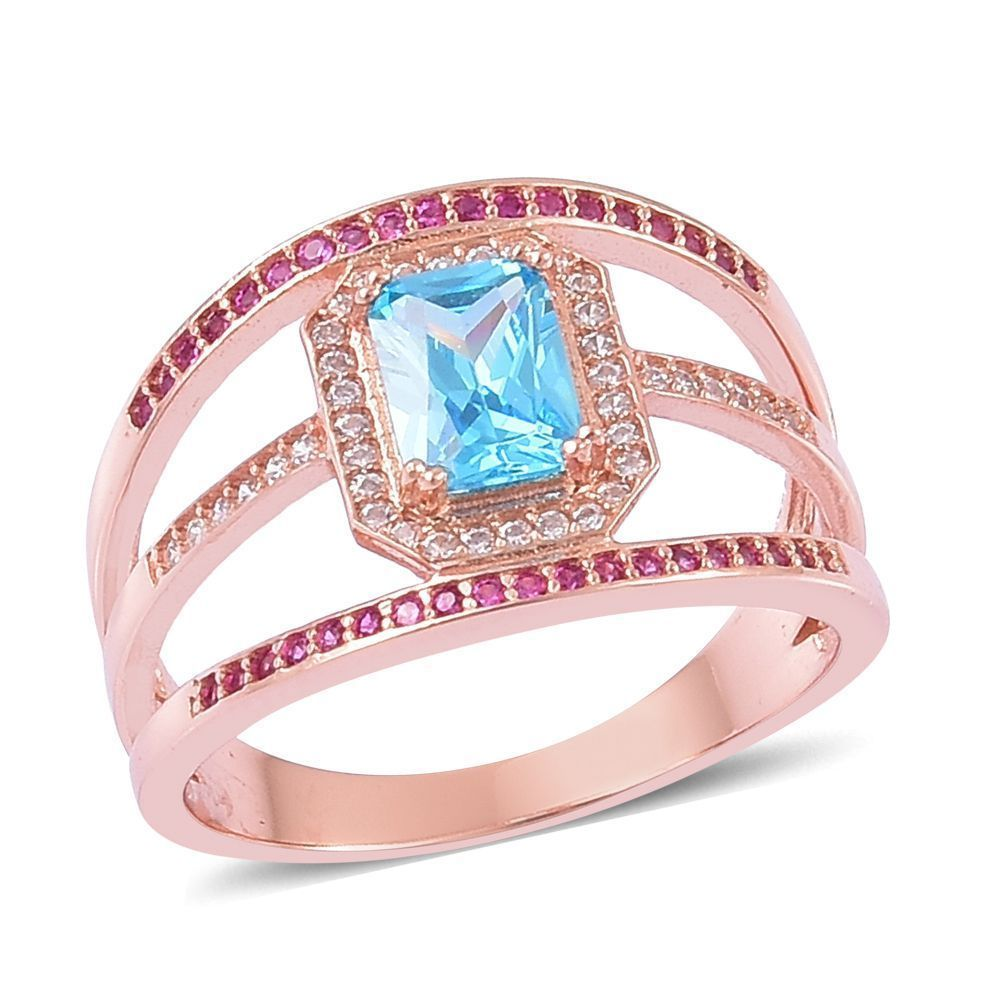 Radiant cut blue glass red white diamond simulate delicate ring size ...
