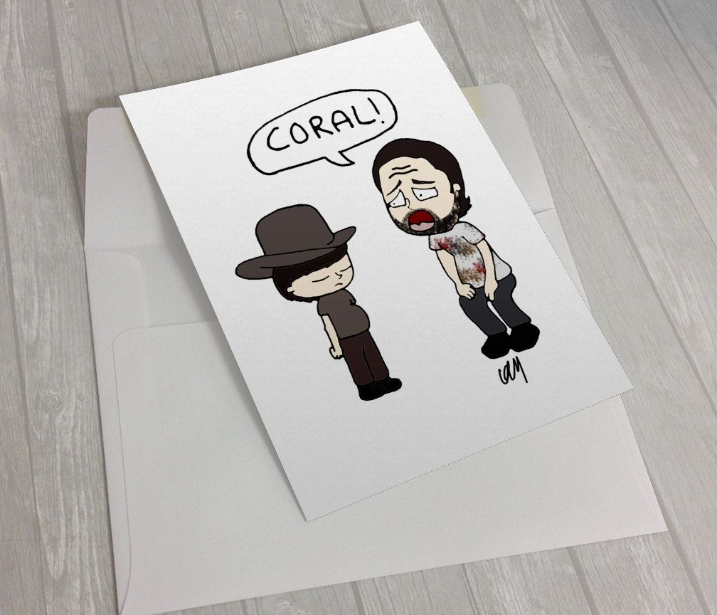New To Kaylieghkartoons On Etsy The Walking Dead Coral Rick Grimes Greeting Card Blank Card Birthday Card Thank You Card 3 Kayliegh Kartoons Etsy Blank