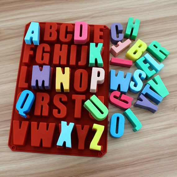 Large 26 Letter Alphabet A-Z Silicone Soap Molds Candy Molds Chocolate Mold Cupcake Cookie Topper Cake Mold Baking Tool Fondant Mold Resin