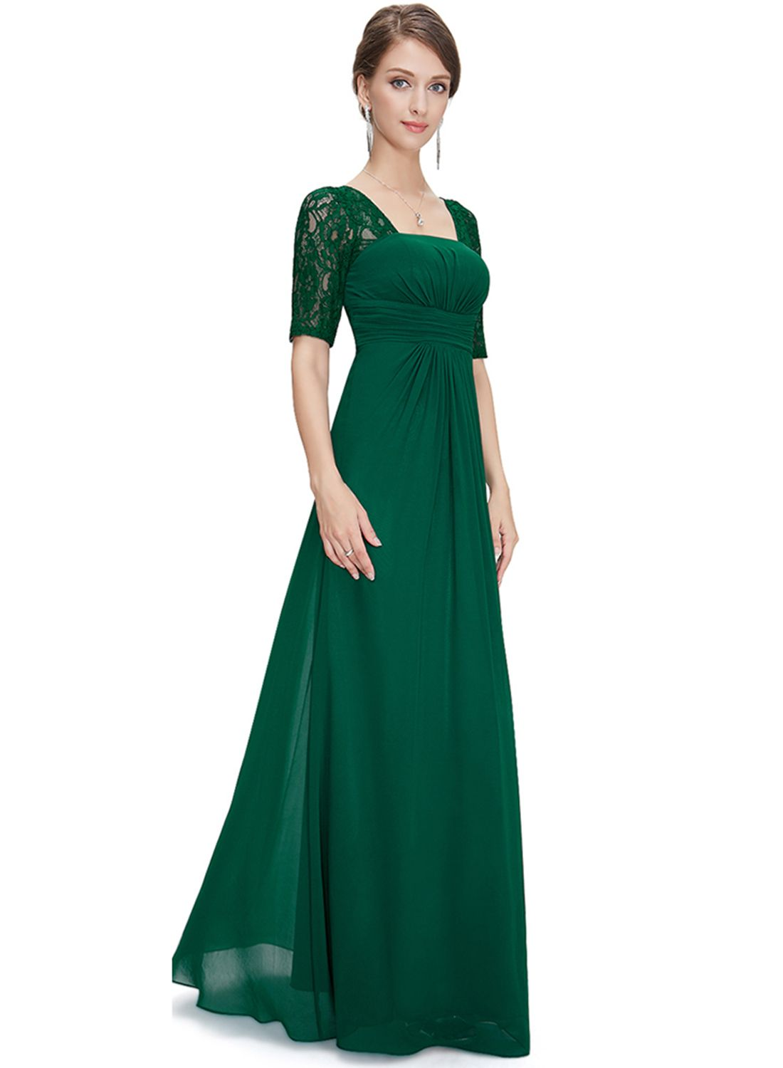 Elegant Lace Panel Maxi Prom Evening Dress