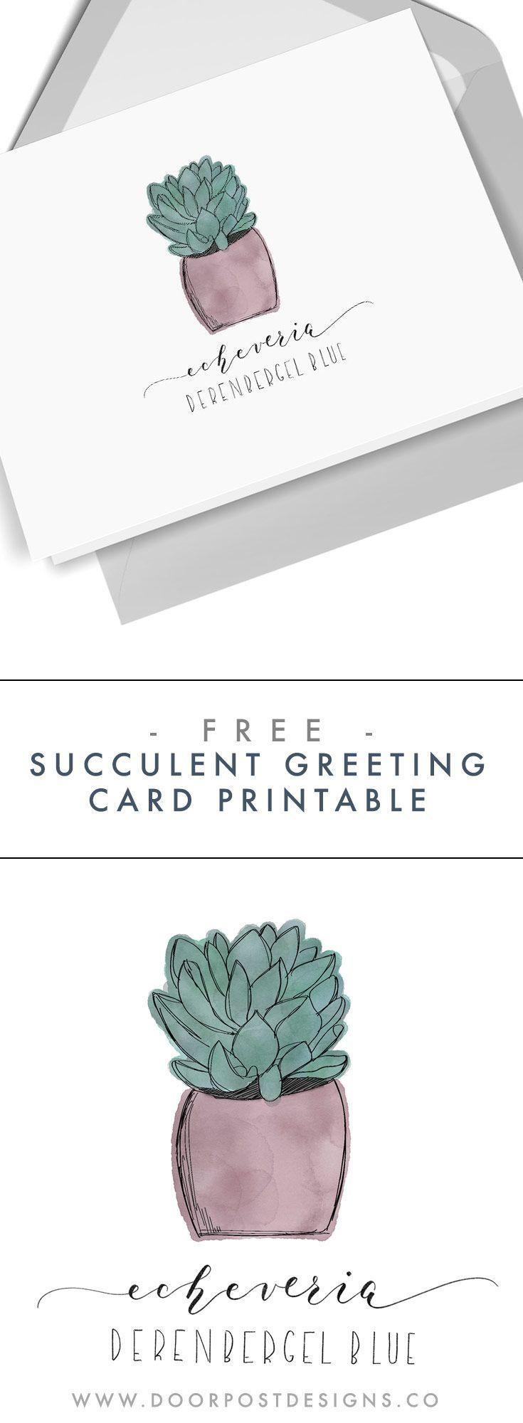 Freebie Printable Succulent Greeting Card Printable Greeting Cards Fall Greeting Cards Free Greeting Cards