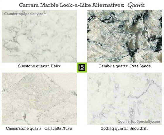 Great Four Quartz Countertop Colors That Look Like White Carrara Marble Collage.  Quartz (Zodiaq, Cambria, Silestone, Ceasarstone) Countertops Are As Durable  If ...