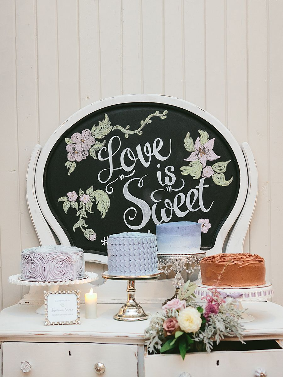 Chalkboard sign idea for a wedding cake display or dessert table