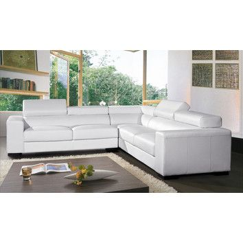 Hokku Designs Burdie Leather Sectional Modern Sectional New