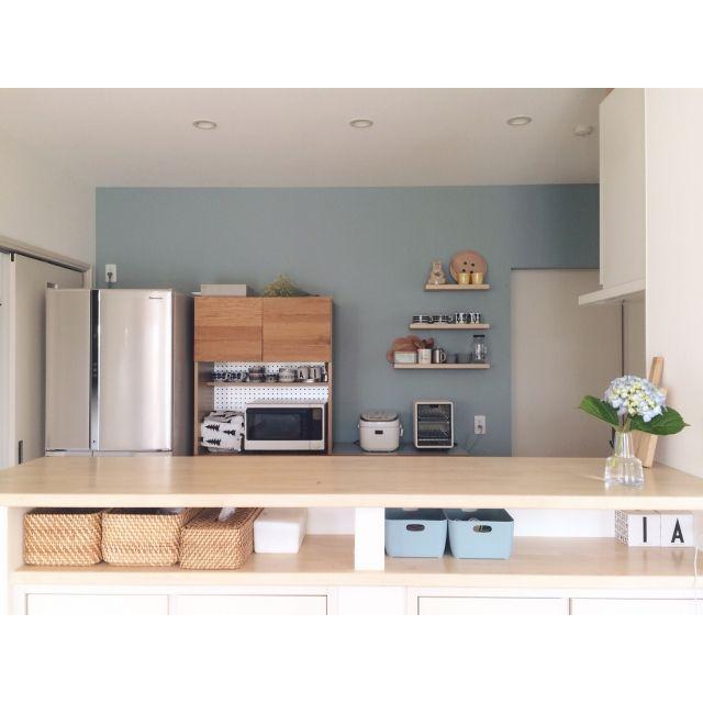 キッチン マリメッコ Marimekko 造作棚 食器棚 などのインテリア実例 2016 06 06 07 23 20 Roomclip ルームクリップ インテリア ブルー インテリア 造作