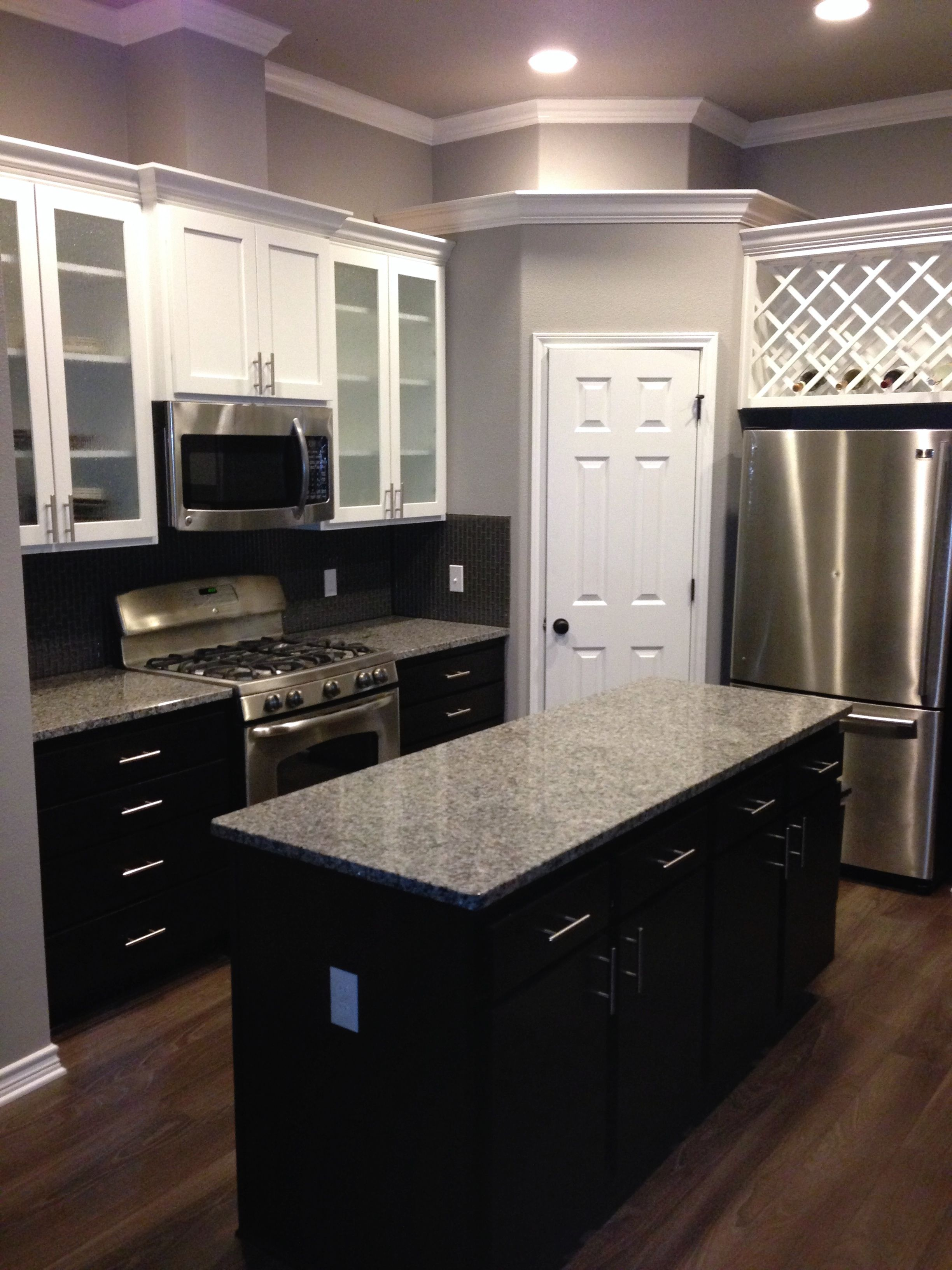 White upper cabinets with espresso lower cabinets love for Upper kitchen cupboards